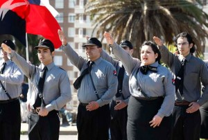 "A group of Chilean Nazis belonging to ""Forefront of National Order"" (FON), take part in a ceremony inside a cemetery in Valparaiso City."